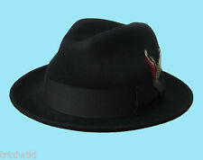 Trilby Fedora C Crown with Feather Black 100% Wool Hat