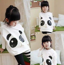 Kids Toddler Clothes Girl Sequined Panda Botton Shirt T-shirt Tops Sz 3-8Years