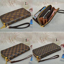 Brown Women's Clutch Buckle Soft Leather Wallet Lady PU Long Card Purse Handbag
