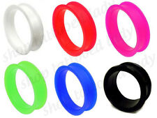 Silicone Flesh Tunnel Stretched Ear Gauge Choose Size / Colour 8mm - 50mm US 2""