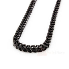 "24"" 30"" 36"" Mens 6mm Black Stainless Steel Franco Cuban Box Chain Link Necklace"