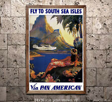 Pan Am Fly to South Sea Isles - Reproduction Vintage Airline Travel Poster