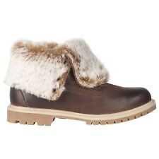 Timberland 8321A Fold Down Womens size Boots Dark Brown Faux Fur Boots