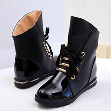 Women black fashion boots Flat boots Patent leather Martin boots Short boots Fur