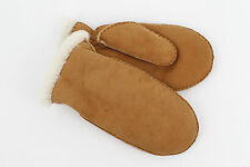 LADIES 100% REAL SHEEPSKIN MITTENS LEATHER MITTS GLOVES SMALL MEDIUM LARGE