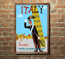 Pan Am - Italy - Vintage Airline Travel Poster [6 sizes, matte+glossy avail]