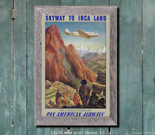Pan Am Skyway to Inca Land - Reproduction Vintage Airline Travel Poster