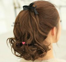 Fashion Women short Curly Wavy Ponytail 50% human Hair Extensions 3 color po273
