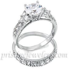 925 Sterling Silver Womens 2CT CZ Stone Wedding Band Engagement Ring Set 5 6 7 8
