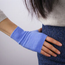 Cashmere Wool Fingerless Gloves Arm Warmer Mitten Light Sky Blue Denim Stretchy