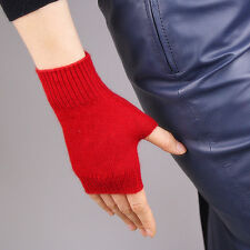 Cashmere Wool Fingerless Gloves Arm Warmer Mitten Red Wrist Touch Screen Wrist