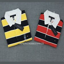 TOMMY HILFIGER  NEW MENS STRIPED POLO RUGBY SHIRT, NWT,VERY NICE