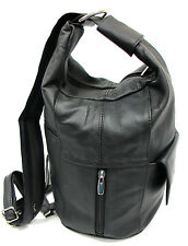 Stylish Genuine Leather Unique Two in One Backpack/Sling Bag Purse Black Brown