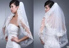 New 2T White/lvory Applique wedding Bridal Bride Veil +comb