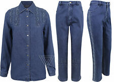 Ladies SWAROVSKI® Denim Jeans Shirt Trousers Wave Hand Made Embroidery Womens We