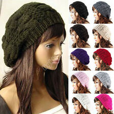 Women Ladies Warm Winter Beret Braided Baggy Beanie Knitted Crochet Hat SKI Cap