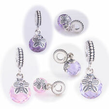 Pertty Purple Pink Lavender Morning Butterfly Dangle Sterling silver charm beads