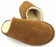 MENS SLIPPERS MULES SLIP ON WINTER GENTS SLIPPERS FLAT BROWN TAN SIZE UK 7-12