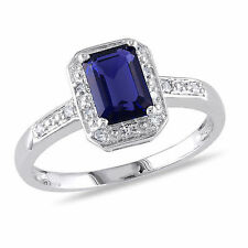 10k White Gold Diamond And 1.59 CT TGW Blue Sapphire Fashion Ring GH I2-I3