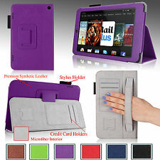 PU Leather Case Cover Stand Auto Sleep/Wake For 2014 Amazon Kindle Fire HD 7""