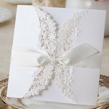 White Small Flowers Leaves Silk Tie Wedding Invitations Cards with Envelopes