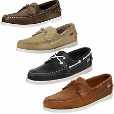 SEBAGO Mens Docksides Boat Shoes Leather Brown Blue Sand White Sole Casual Shoes