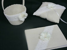 Linen & Lace, Rustic, wedding ring cushion, basket, guest book and favour pouch
