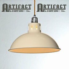 Ivory Cream Factory Pendant Set Lamp Shade Light Vintage Industrial Modern