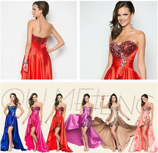 Women Evening Party Dress Beading Sequins Strapless Asymmetrical Bridesmaid Gown