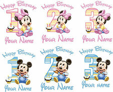 MINNIE MICKEY MOUSE BABY BIRTHDAY AGE IRON ON TSHIRT FABRIC TRANSFER LOT MP