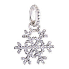 Brand New Snowflake 925 Sterling Silver Winter Kiss Cz Pendant Charm Bead