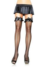 Leg Avenue Fishnet Thigh Highs with Satin Ruffle and Bow Top Accent # 6264