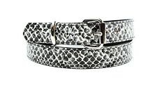 "White Python Snake Embossed Vegan Leather Belt Removable Buckle 1.25"" Wide 29mm"