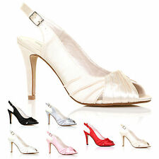 IVORY OR WHITE PEEPTOE SATIN HEEL BRIDAL PROM PARTY BRIDESMAID SANDAL SHOES SIZE