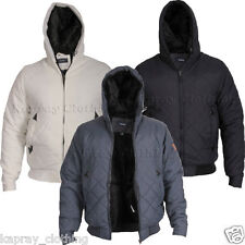 Mens Quilted Jacket Coat Soft Inside Fur Hooded Winter Warm S-XXL RRP39.99