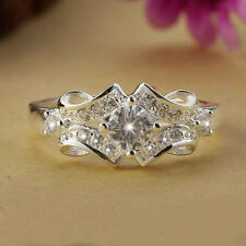 925 Sterling Silver Swarovski Crystal Wedding Engagement Wide Ring Gift Size 6-9
