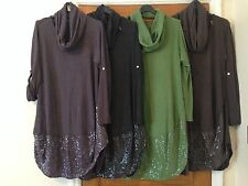 Italian lagenlook 2 Peice Cocoon parachute Sequins dress Cotton tunic  10-16