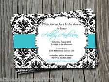 Tiffany Blue Black Damask Bridal Wedding Baby Shower Invitations - Any Color