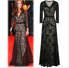 Black Lace Gown Cocktail Dress Evening Party Prom Formal Bridesmaid Polyester