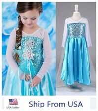 Girl Kids Frozen Princess Queen Elsa Party Cosplay Costume Fancy Dress Long USA