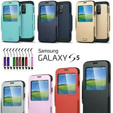 ETUI COQUE HOUSSE FLIP COVER VIEW S-ARMOR GALAXY S5 + FILM + STYLET