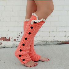 Button Down Women's Leg Warmers w/ Cream Lace Pair Boutique Goods Free Shipping