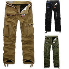 Mens Fleece Lining Casual Relaxed Military Combat Work Army Cargo Trousers Pants