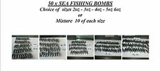50 x SEA FISHING WEIGHTS BEACH BOMB 2oz 3oz 4oz 5oz 6oz
