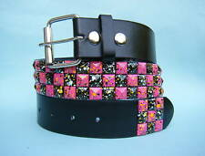 Splat Stud Studded Pink and Black Snap on Belt