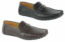 Mens Faux Leather Silver Buckle Smart Casual Shoes Loafers