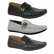 Mens Faux Leather B Buckle Smart Casual Shoes Loafers