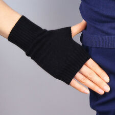 Cashmere Wool Fingerless Gloves Arm Warmer Mitten Black Stretchy Wrist Long