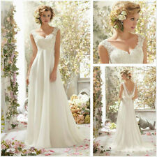 New white/ivory lace applique PROM dresses chiffon princess dress in stock size