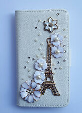 Pearl Eiffel Tower Wallet Card Holder PU Leather Flip Case Cover For Samsung 1